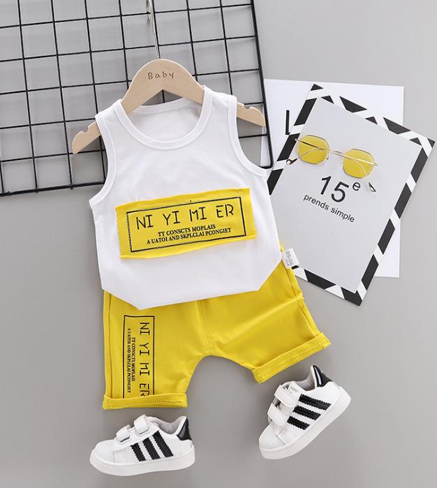 Summer new Children Cotton Simple text slogan pattern two-Pieces vest + shorts (yellow)