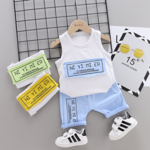 Summer new Children Cotton Simple text slogan pattern two-Pieces vest + shorts (blue)