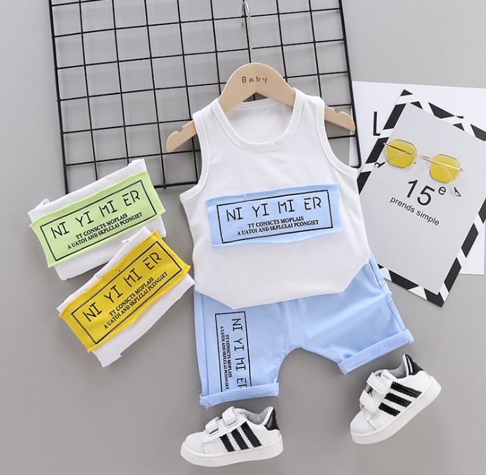 Summer new Children Cotton Simple text slogan pattern two-Pieces vest + shorts (blue)