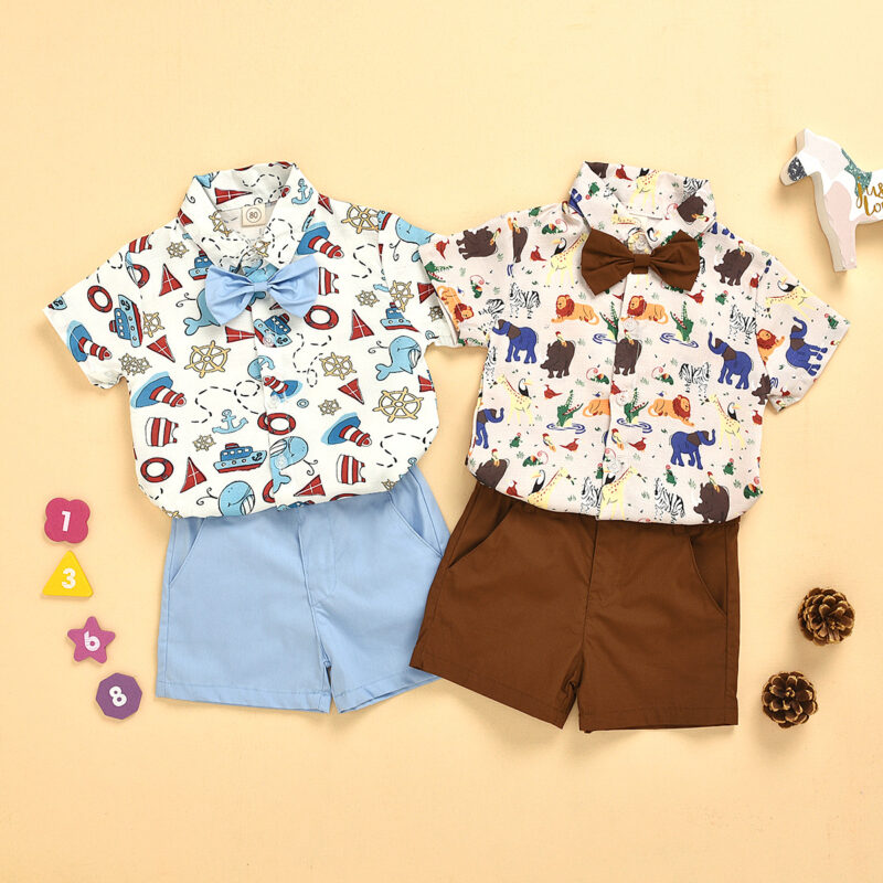 Animal pattern Kids Bow Tie T-Shirts And Shorts
