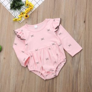 Baby Girl Bow pattern Print Long Sleeve Jumpsuit