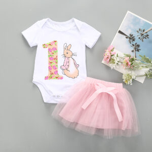 Baby Girl Rabbit pattern 2PCs Romper Top+Tulle Dress