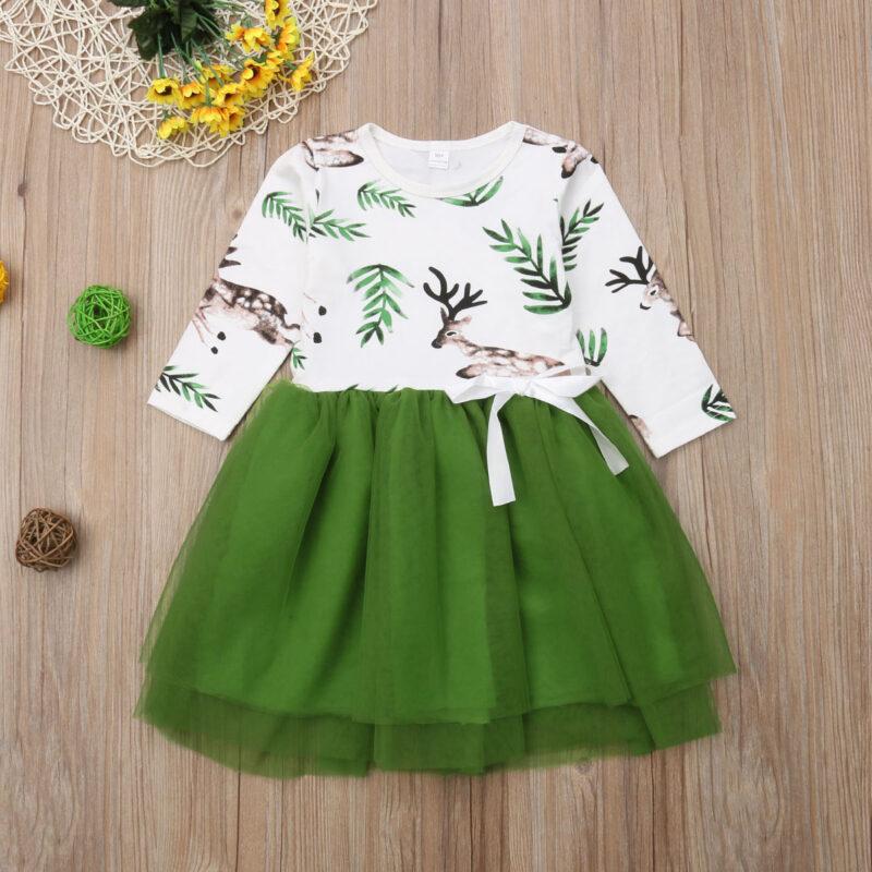 Baby Girl Elk pattern Tulle Dress