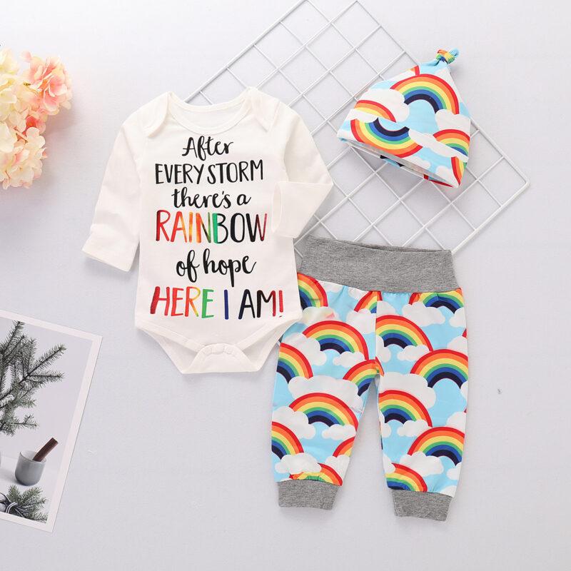 Newborn Baby Girl Romper Rainbow Pants and Hat