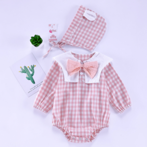 Plaid Navy 0-2-year-old baby, newborn, Cotton onesie (pink)