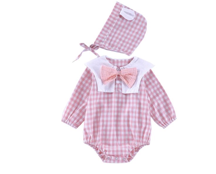 Plaid Navy 0-2-year-old baby, newborn, Cotton onesie (pink)