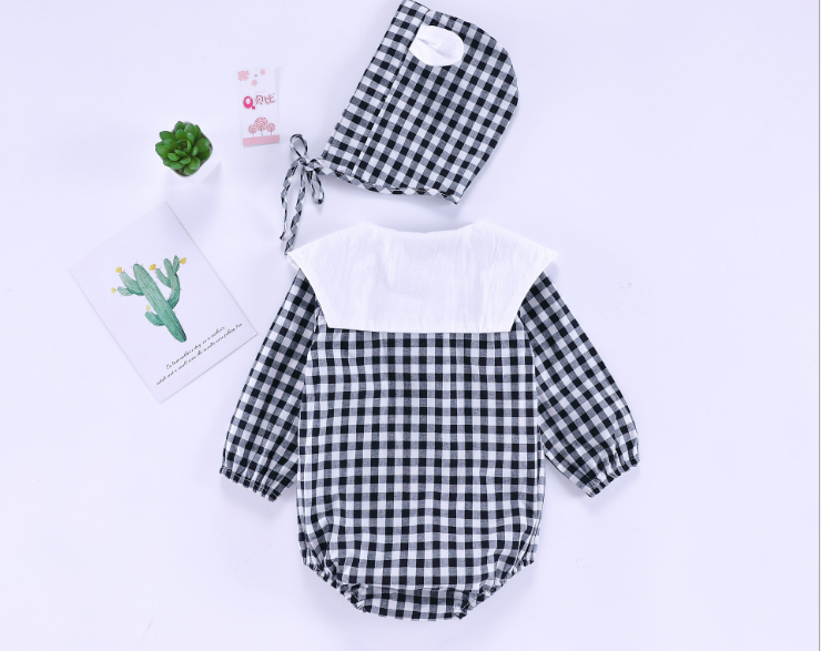 Plaid Navy 0-2-year-old baby, newborn, Cotton onesie (black)