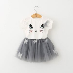 Summer girl short sleeve suit cute cat T-shirt puffy skirt dress
