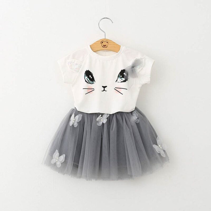 Summer girl short sleeve suit cute cat T-shirt puffy skirt dress