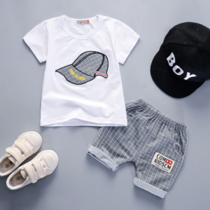 Boy short sleeve suit cartoon parttern Summer new breathable round neck T-shirt and shorts [Without hat] (gray)