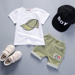 Boy short sleeve suit cartoon parttern Summer new breathable round neck T-shirt and shorts [Without hat] (green)