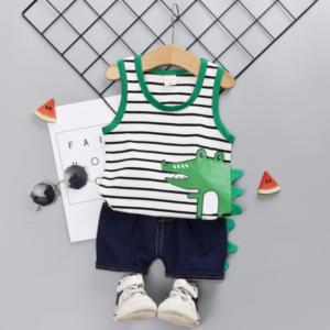 Cartoon crocodile pattern Striped element Summer Children vest+shorts set (white)