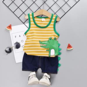Cartoon crocodile pattern Striped element Summer Children vest+shorts set (yellow)