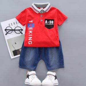 New Summer Cotton short sleeve T-shirt & jeans Simple style Alphabet element (red)