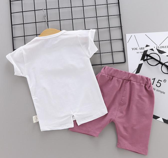 Children T-shirt Short Sleeves Cotton elephant print baby suit (pink)