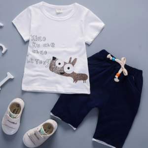 Toddler Boy Cotton Summer Short Sleeve T-shirt and Shorts Outfits Cartoon little donkey pattern (white)