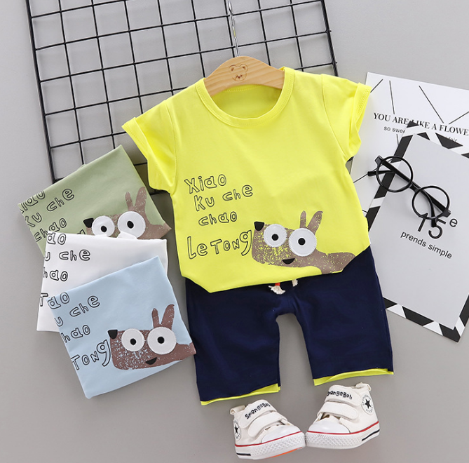 Toddler Boy Cotton Summer Short Sleeve T-shirt and Shorts Outfits Cartoon little donkey pattern (yellow)