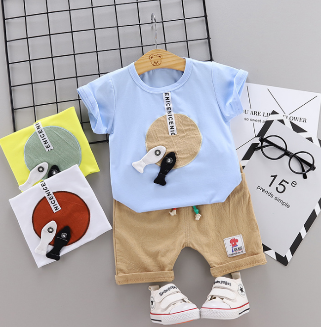 Toddler Boy Cotton Summer Short Sleeve T-shirt and Shorts Outfits Cartoon fish & disc pattern (blue)