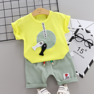 Toddler Boy Cotton Summer Short Sleeve T-shirt and Shorts Outfits Cartoon fish & disc pattern (yellow)
