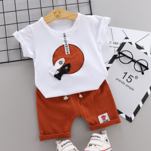 Toddler Boy Cotton Summer Short Sleeve T-shirt and Shorts Outfits Cartoon fish & disc pattern (white)