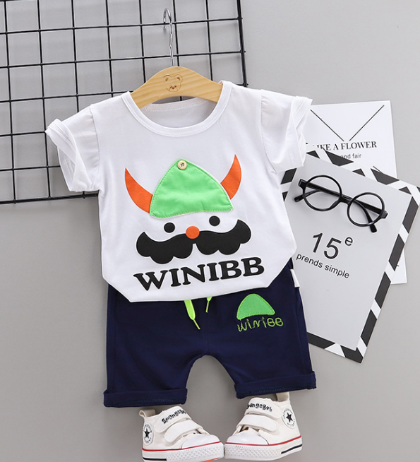 Toddler Boy Cotton Summer Short Sleeve T-shirt and Shorts Outfits Cartoon Bearded soldier pattern (white)