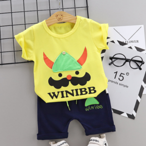 Toddler Boy Cotton Summer Short Sleeve T-shirt and Shorts Outfits Cartoon Bearded soldier pattern (yellow)