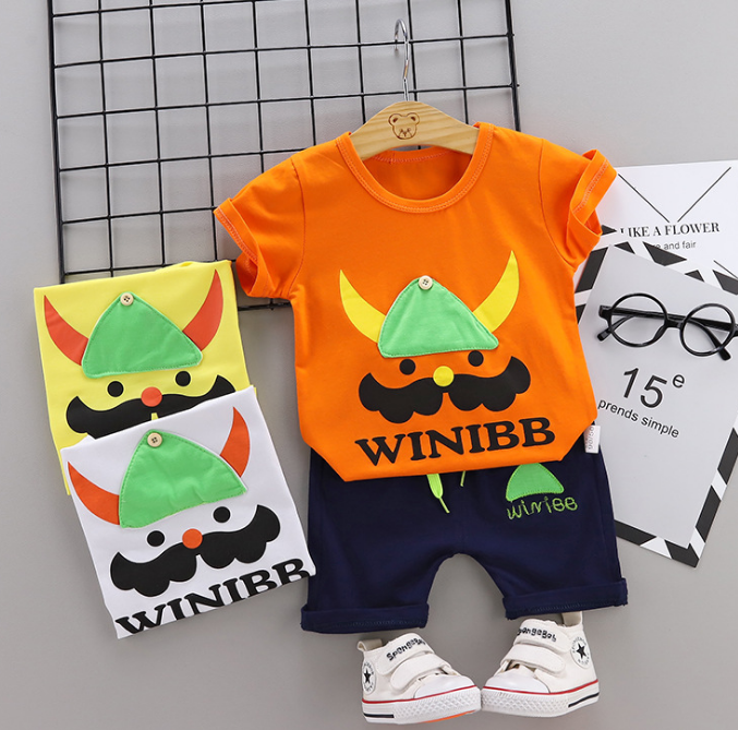 Toddler Boy Cotton Summer Short Sleeve T-shirt and Shorts Outfits Cartoon Bearded soldier pattern (orange)