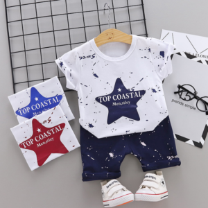 New Summer Cotton short sleeve T-shirt & pants color star pattern (Navy)