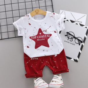 New Summer Cotton short sleeve T-shirt & pants color star pattern (red)