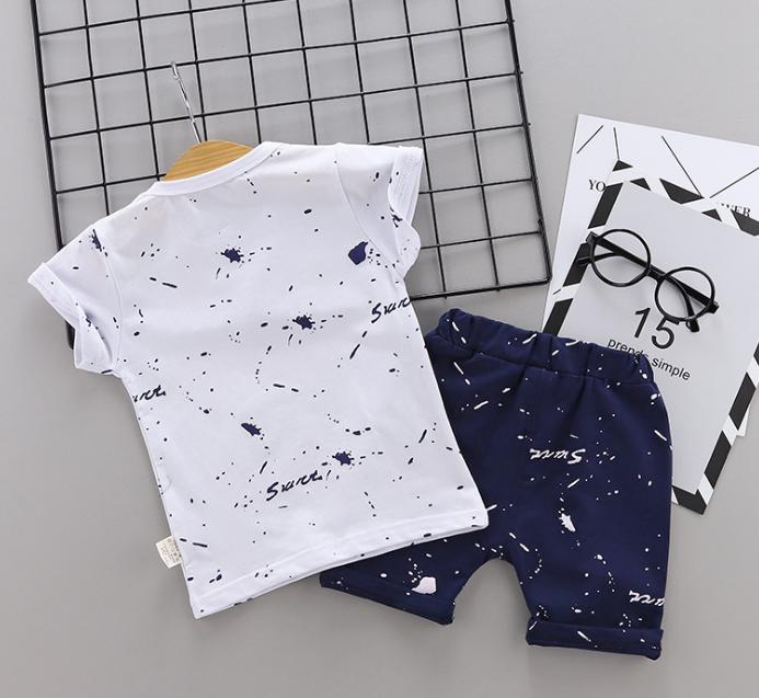 New Summer Cotton short sleeve T-shirt & pants color star pattern (Navy)