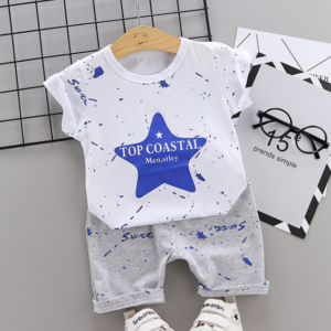 New Summer Cotton short sleeve T-shirt & pants color star pattern (blue)
