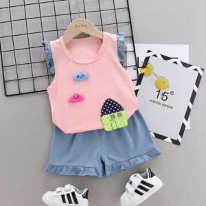2020 Summer new Children Cotton Cartoon Small house pattern two-Pieces vest + shorts (pink)