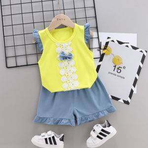 2020 Summer new Children Cotton Bow design elements two-Pieces vest + shorts (yellow)