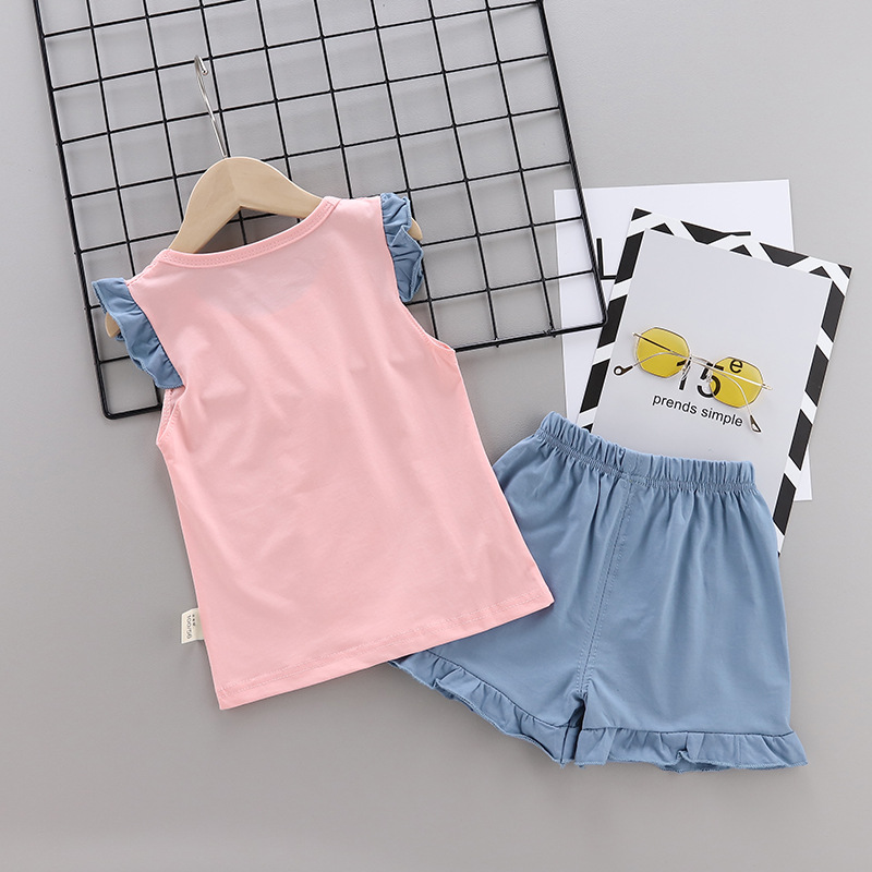 Summer new Children Cotton Cartoon Small house pattern two-Pieces vest + shorts (pink)