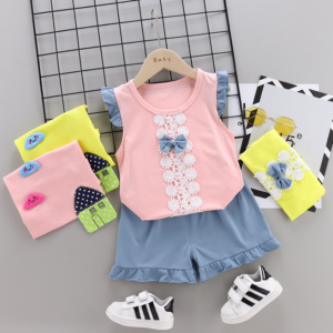 Summer new Children Cotton Bow design elements two-Pieces vest + shorts (pink)