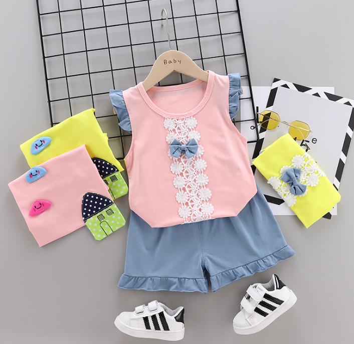 Summer new Children Cotton Bow design elements two-Pieces vest + shorts (pink)