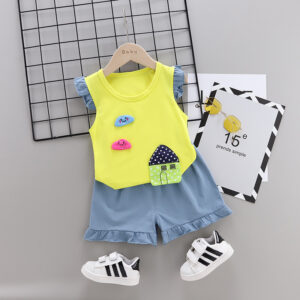 Summer new Children Cotton Cartoon Small house pattern two-Pieces vest + shorts (yellow)