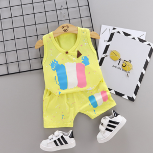 2020 Summer new Children Cotton Pigment design elements two-Pieces vest + shorts (yellow)