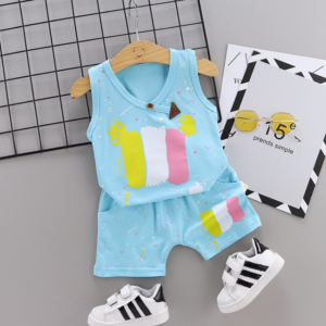Summer new Children Cotton Pigment design elements two-Pieces vest + shorts (blue)