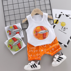 Summer new Children Cotton glider design elements two-Pieces vest + shorts (orange)