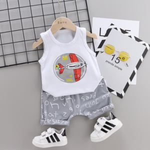 Summer new Children Cotton glider design elements two-Pieces vest + shorts (gray)