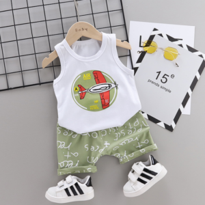 2020 Summer new Children Cotton glider design elements two-Pieces vest + shorts (green)