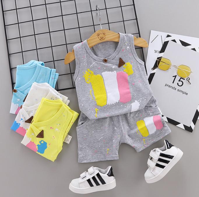 Summer new Children Cotton Pigment design elements two-Pieces vest + shorts (gray)