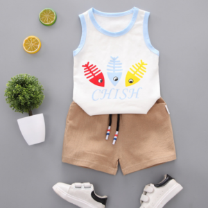 2020 Summer new Children Cotton Cartoon colorful fish bone pattern two-Pieces vest + shorts (blue)