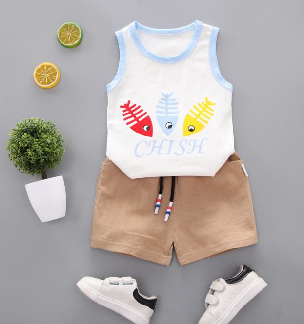 Summer new Children Cotton Cartoon colorful fish bone pattern two-Pieces vest + shorts (blue)