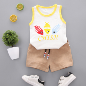 Summer new Children Cotton Cartoon colorful fish bone pattern two-Pieces vest + shorts (yellow)