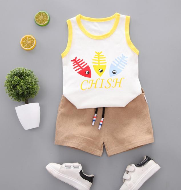 Summer new Children Cotton Cartoon colorful fish bone pattern two-Pieces vest + shorts (yellow)