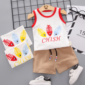 Summer new Children Cotton Cartoon colorful fish bone pattern two-Pieces vest + shorts (red)
