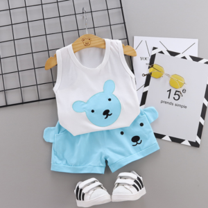2020 Summer new Children Cotton Cartoon bear pattern two-Pieces vest + shorts (blue)