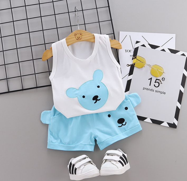Summer new Children Cotton Cartoon bear pattern two-Pieces vest + shorts (blue)